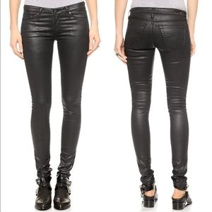 AG The Legging Super Skinny Fit Black Coated Jeans